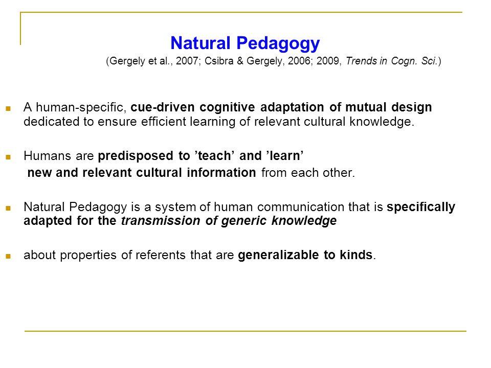 Natural Pedagogy (Gergely et al., 2007; Csibra & Gergely, 2006; 2009, Trends in Cogn.