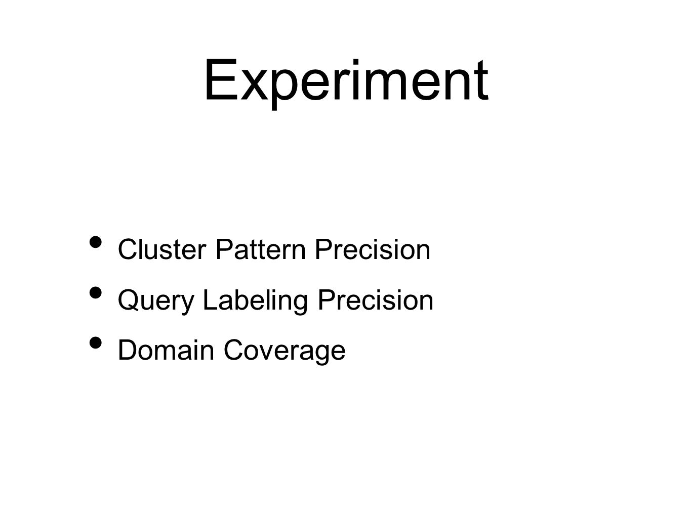 Experiment Cluster Pattern Precision Query Labeling Precision Domain Coverage