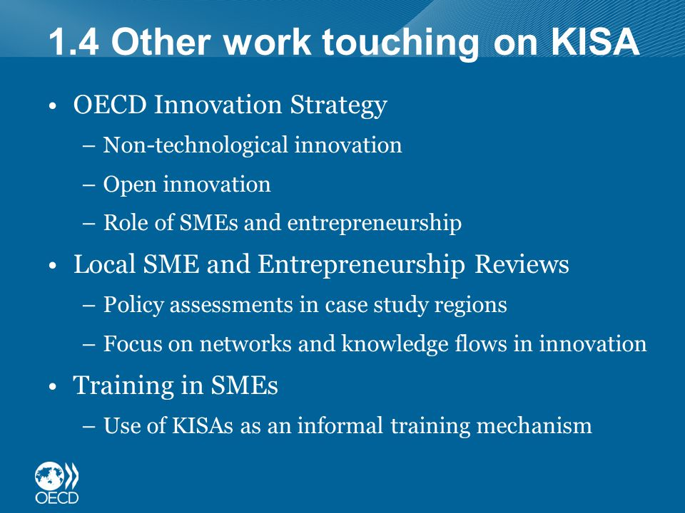 1.4 Other work touching on KISA OECD Innovation Strategy –Non-technological innovation –Open innovation –Role of SMEs and entrepreneurship Local SME and Entrepreneurship Reviews –Policy assessments in case study regions –Focus on networks and knowledge flows in innovation Training in SMEs –Use of KISAs as an informal training mechanism
