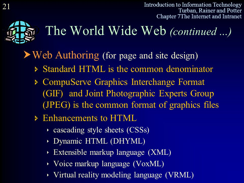 Introduction to Information Technology Turban, Rainer and Potter Chapter 7The Internet and Intranet 21 The World Wide Web (continued …)  Web Authorin