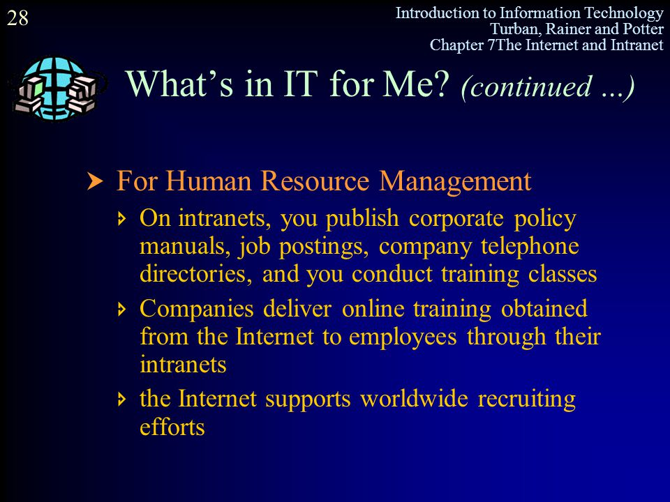 Introduction to Information Technology Turban, Rainer and Potter Chapter 7The Internet and Intranet 28 What's in IT for Me? (continued …)  For Human