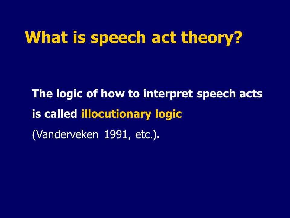 What is speech act theory.