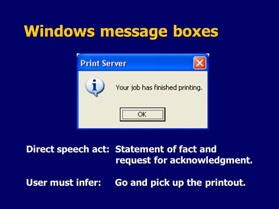 Windows message boxes Direct speech act: Statement of fact and request for acknowledgment.
