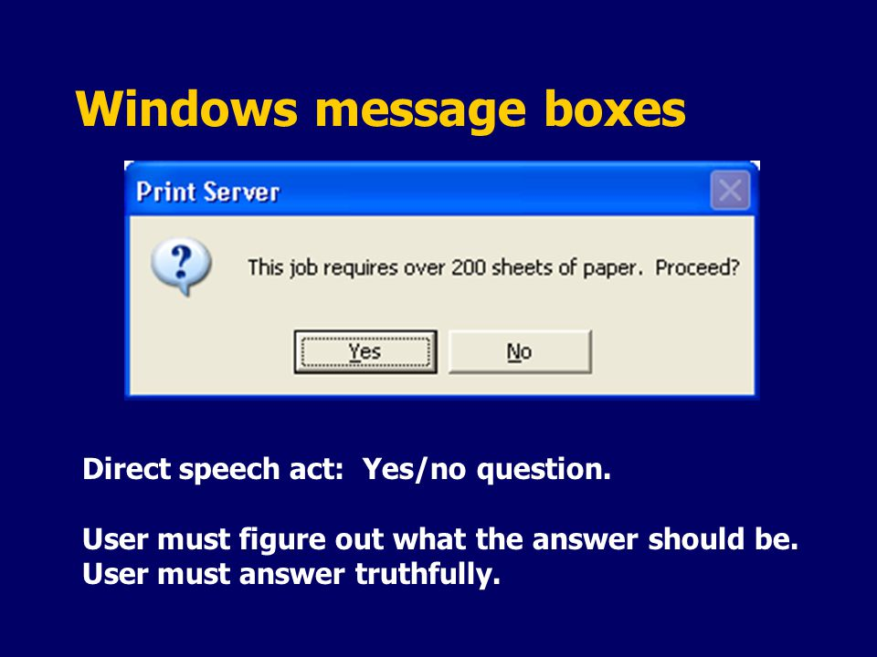 Windows message boxes Direct speech act: Yes/no question.