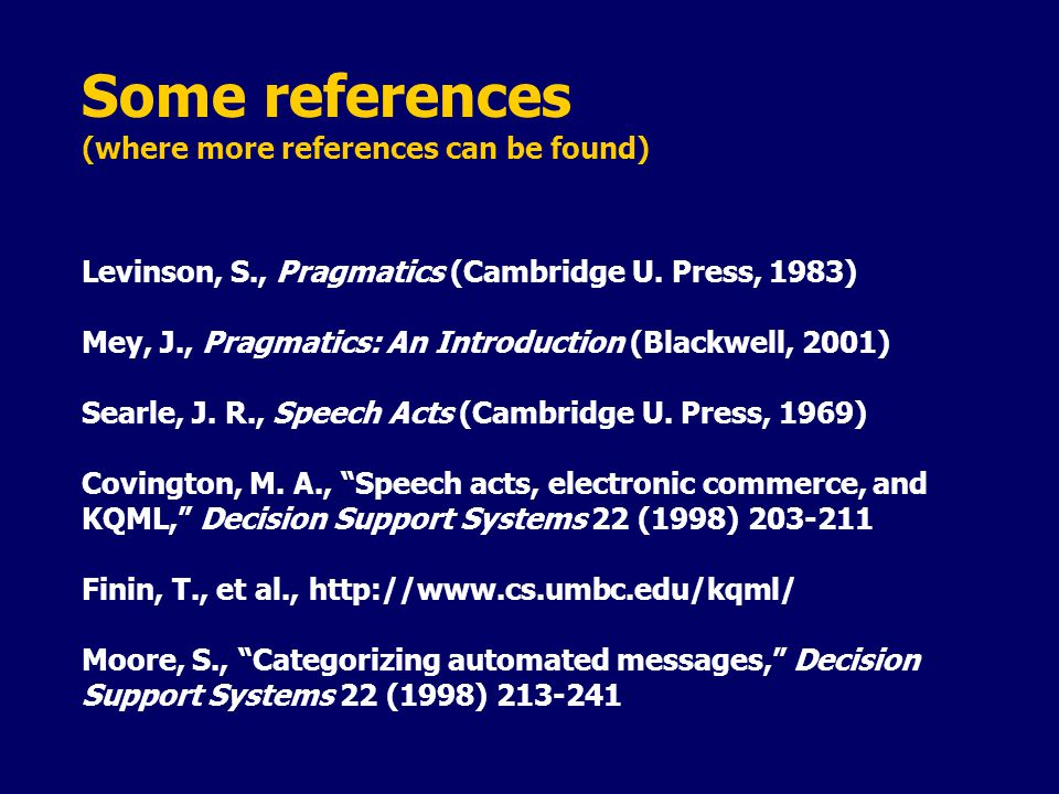 Some references (where more references can be found) Levinson, S., Pragmatics (Cambridge U.