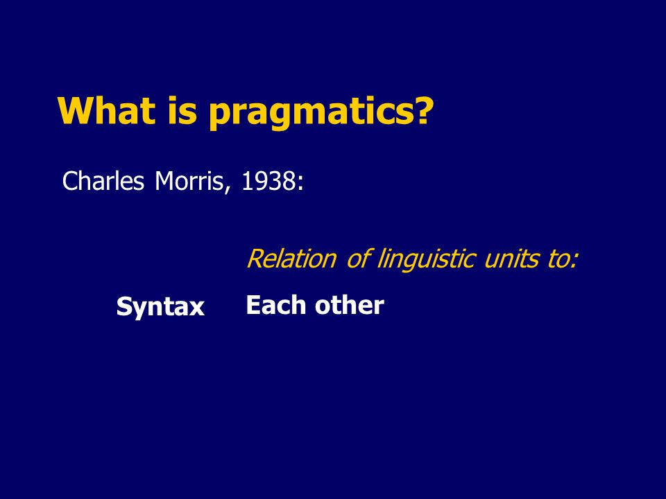 What is pragmatics? Charles Morris, 1938: Syntax Relation of linguistic units to: Each other