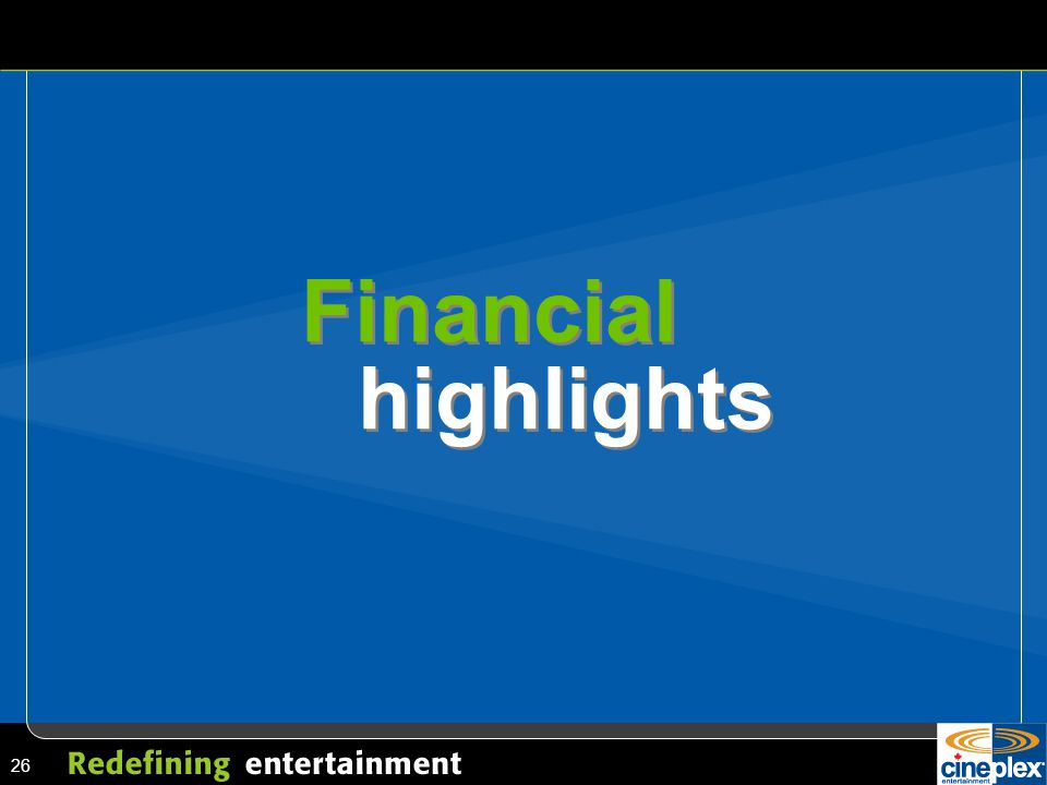 26 Financial highlights