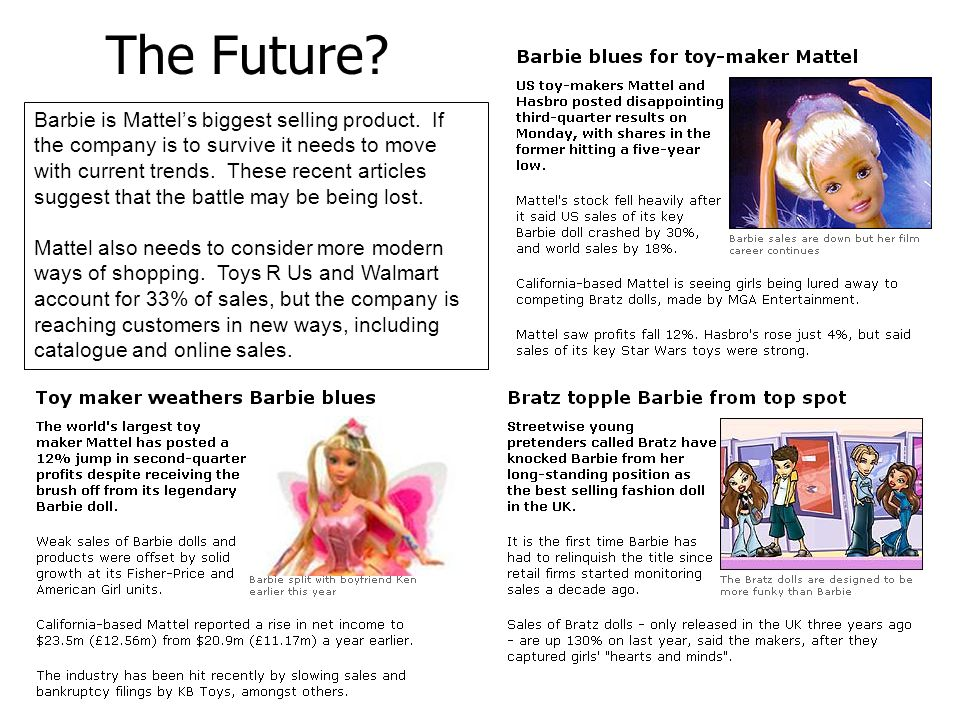 The Future.Barbie is Mattel's biggest selling product.