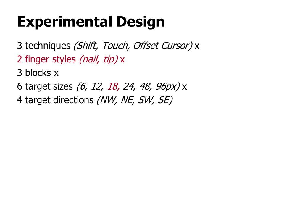 Experimental Design 3 techniques (Shift, Touch, Offset Cursor) x 2 finger styles (nail, tip) x 3 blocks x 6 target sizes (6, 12, 18, 24, 48, 96px) x 4 target directions (NW, NE, SW, SE)