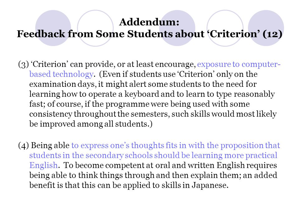 Addendum: Feedback from Some Students about 'Criterion' (12) (3) 'Criterion' can provide, or at least encourage, exposure to computer- based technology.