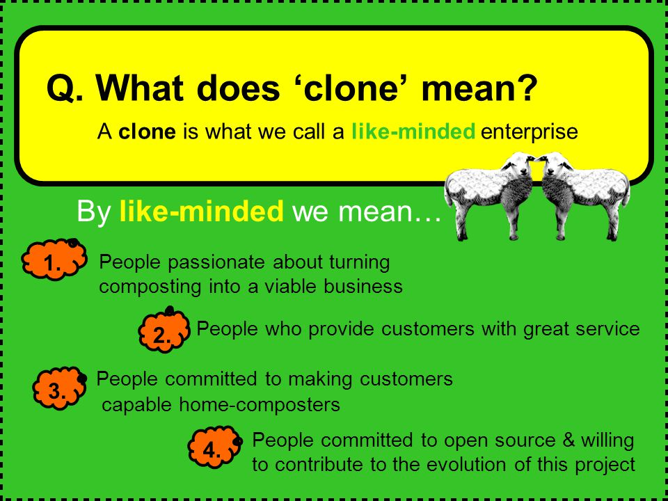By like-minded we mean… Q. What does 'clone' mean.