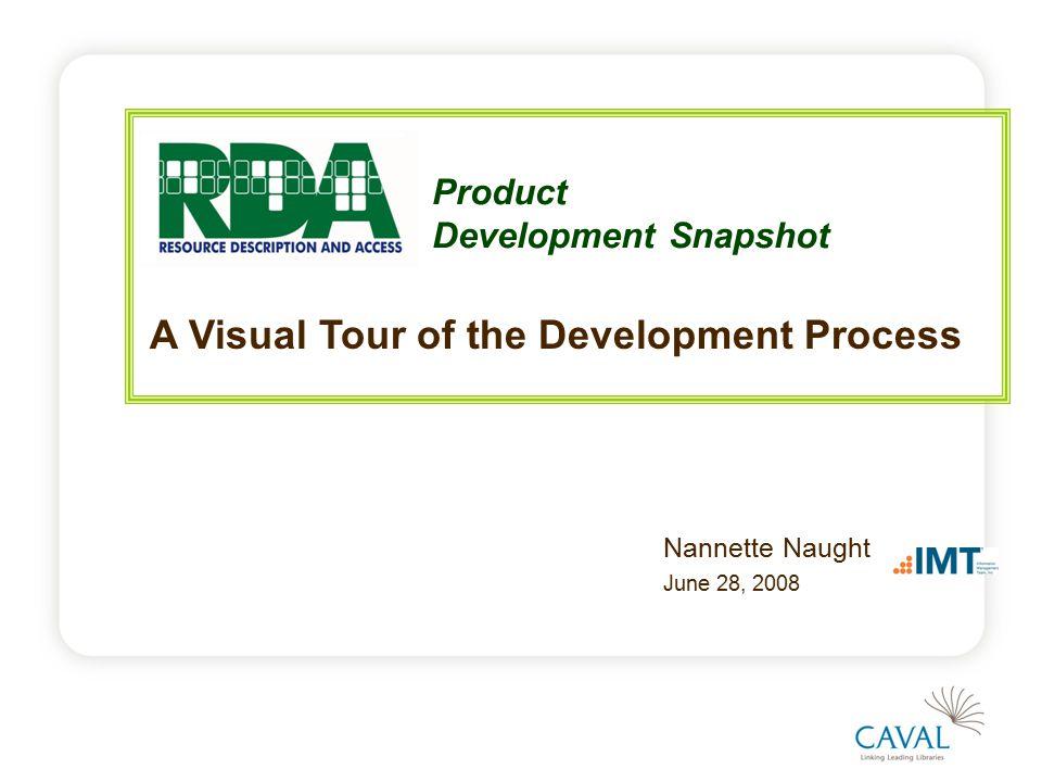 Product Development Snapshot Nannette Naught June 28, 2008 A Visual Tour of the Development Process