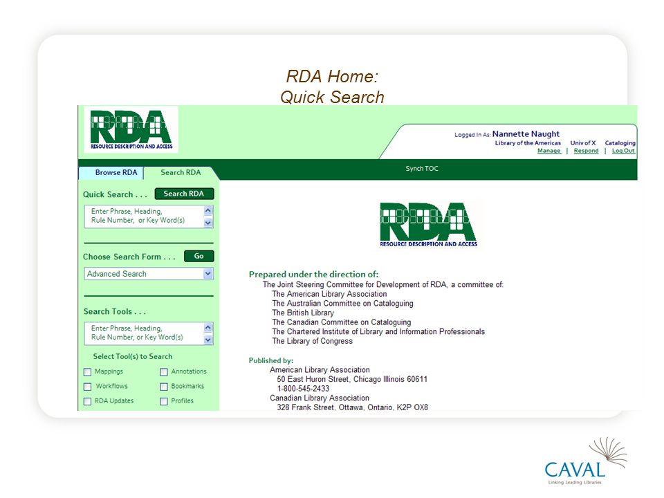 RDA Home: Quick Search