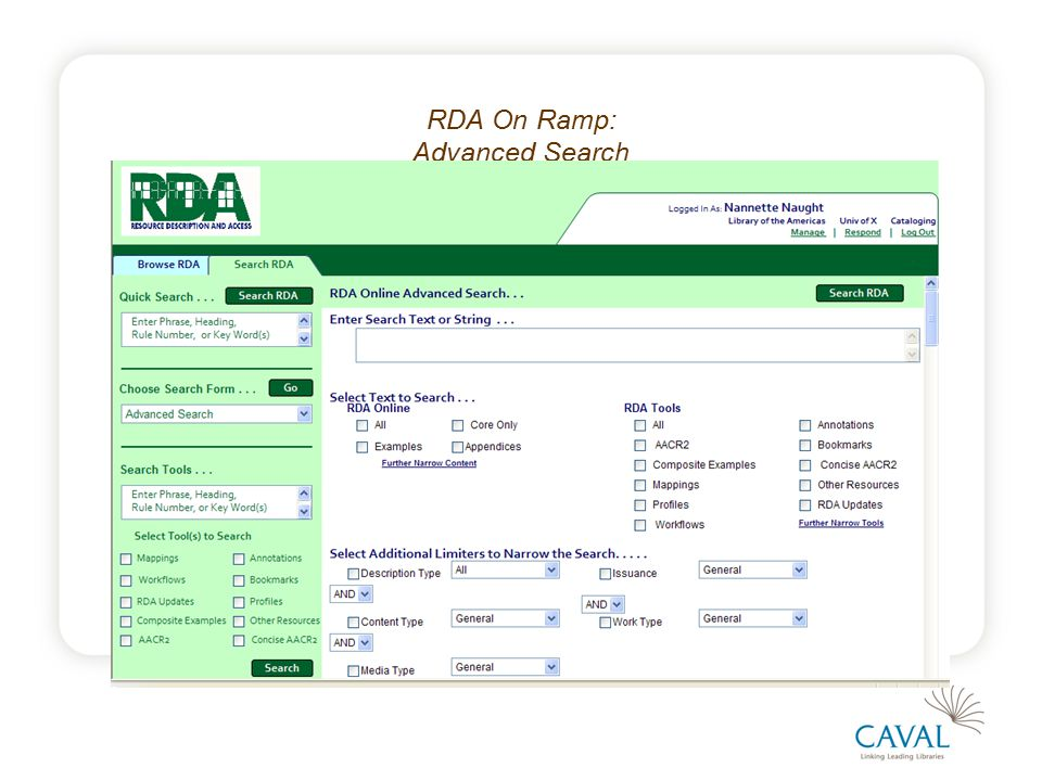 RDA On Ramp: Advanced Search