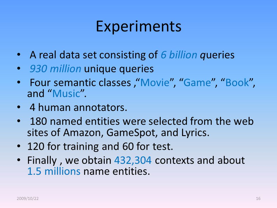 Experiments A real data set consisting of 6 billion queries 930 million unique queries Four semantic classes, Movie , Game , Book , and Music .