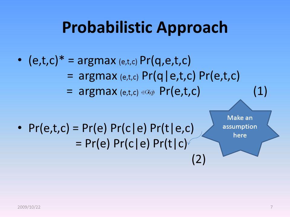 Probabilistic Approach (e,t,c)* = argmax (e,t,c) Pr(q,e,t,c) = argmax (e,t,c) Pr(q|e,t,c) Pr(e,t,c) = argmax (e,t,c) Pr(e,t,c) (1) Pr(e,t,c) = Pr(e) Pr(c|e) Pr(t|e,c) = Pr(e) Pr(c|e) Pr(t|c) (2) 2009/10/227 Make an assumption here