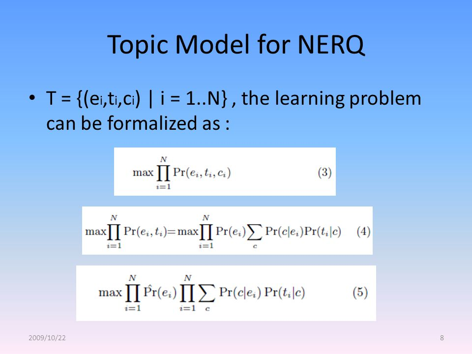 Topic Model for NERQ T = {(e i,t i,c i ) | i = 1..N}, the learning problem can be formalized as : 2009/10/228