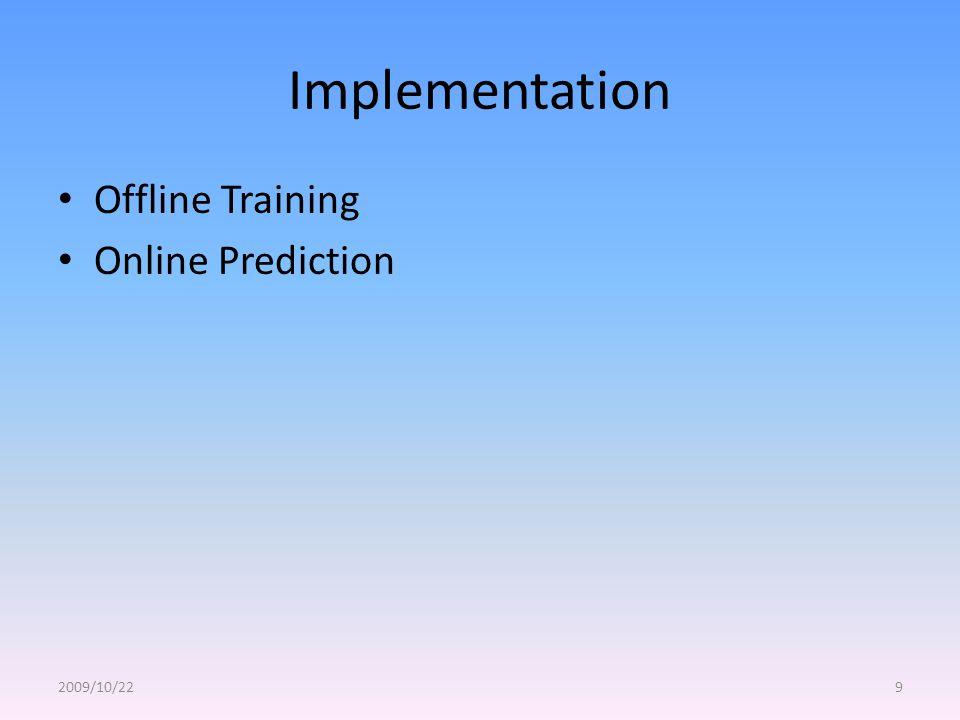 Implementation Offline Training Online Prediction 2009/10/229