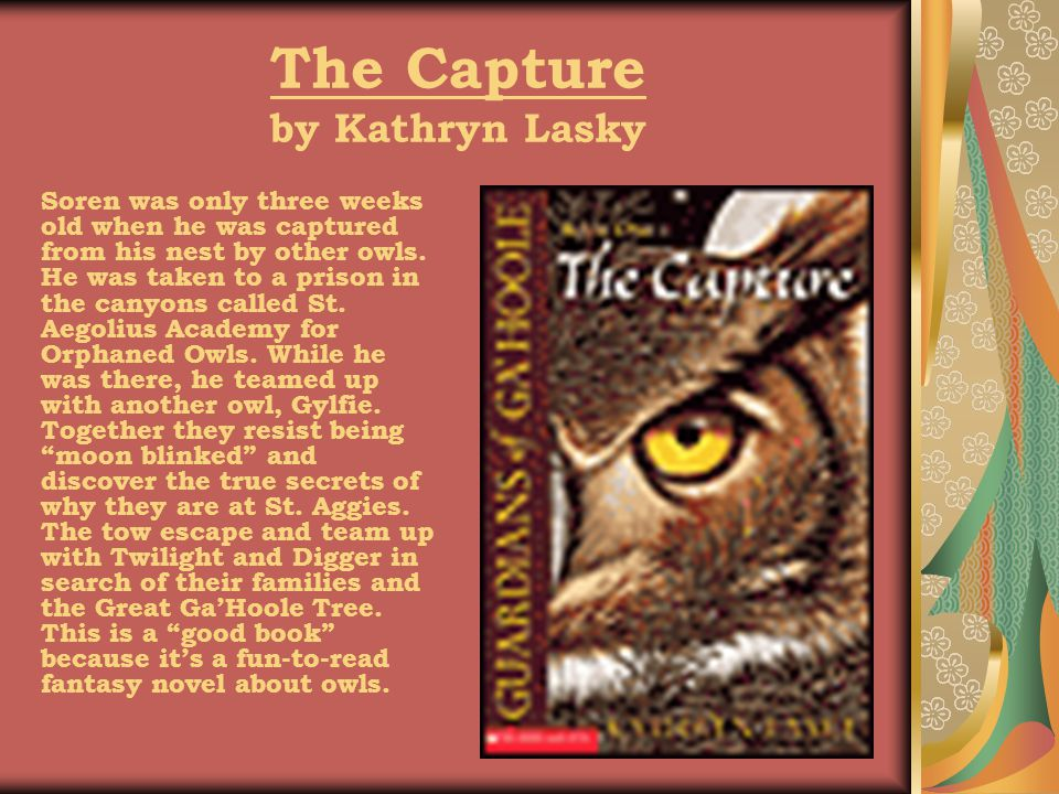The Capture by Kathryn Lasky Soren was only three weeks old when he was captured from his nest by other owls.