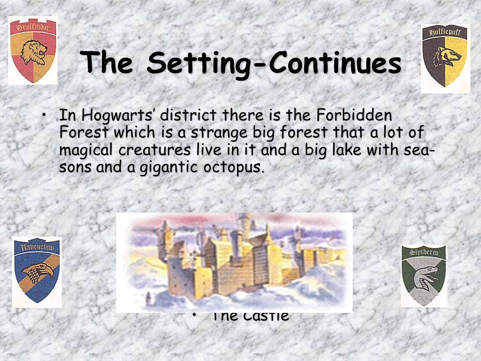 The Setting The main setting is Hogwarts Castle in this time.The main setting is Hogwarts Castle in this time.