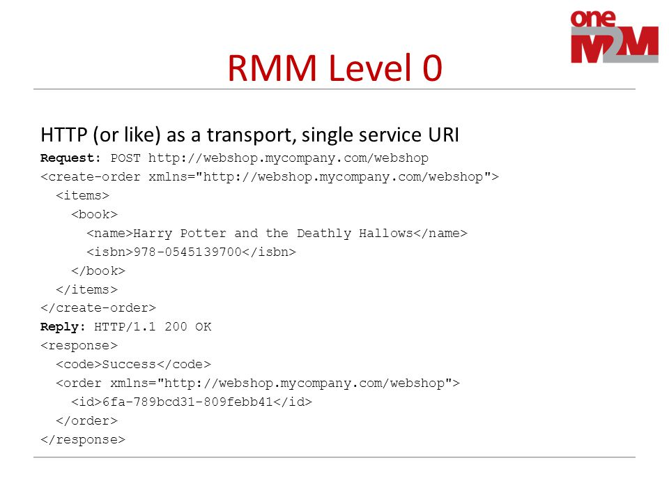 RMM Level 0 HTTP (or like) as a transport, single service URI Request: POST http://webshop.mycompany.com/webshop Harry Potter and the Deathly Hallows 978-0545139700 Reply: HTTP/1.1 200 OK Success 6fa-789bcd31-809febb41