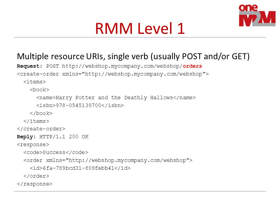 RMM Level 1 Multiple resource URIs, single verb (usually POST and/or GET) Request: POST http://webshop.mycompany.com/webshop/orders Harry Potter and the Deathly Hallows 978-0545139700 Reply: HTTP/1.1 200 OK Success 6fa-789bcd31-809febb41