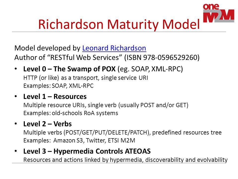 Richardson Maturity Model Model developed by Leonard Richardson Author of RESTful Web Services (ISBN 978-0596529260)Leonard Richardson Level 0 – The Swamp of POX (eg.