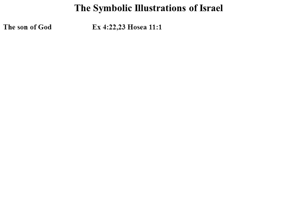 The Symbolic Illustrations of Israel The son of GodEx 4:22,23 Hosea 11:1