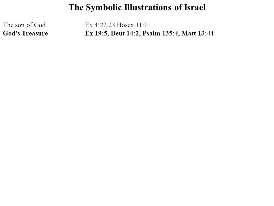 The Symbolic Illustrations of Israel The son of GodEx 4:22,23 Hosea 11:1 God's TreasureEx 19:5, Deut 14:2, Psalm 135:4, Matt 13:44