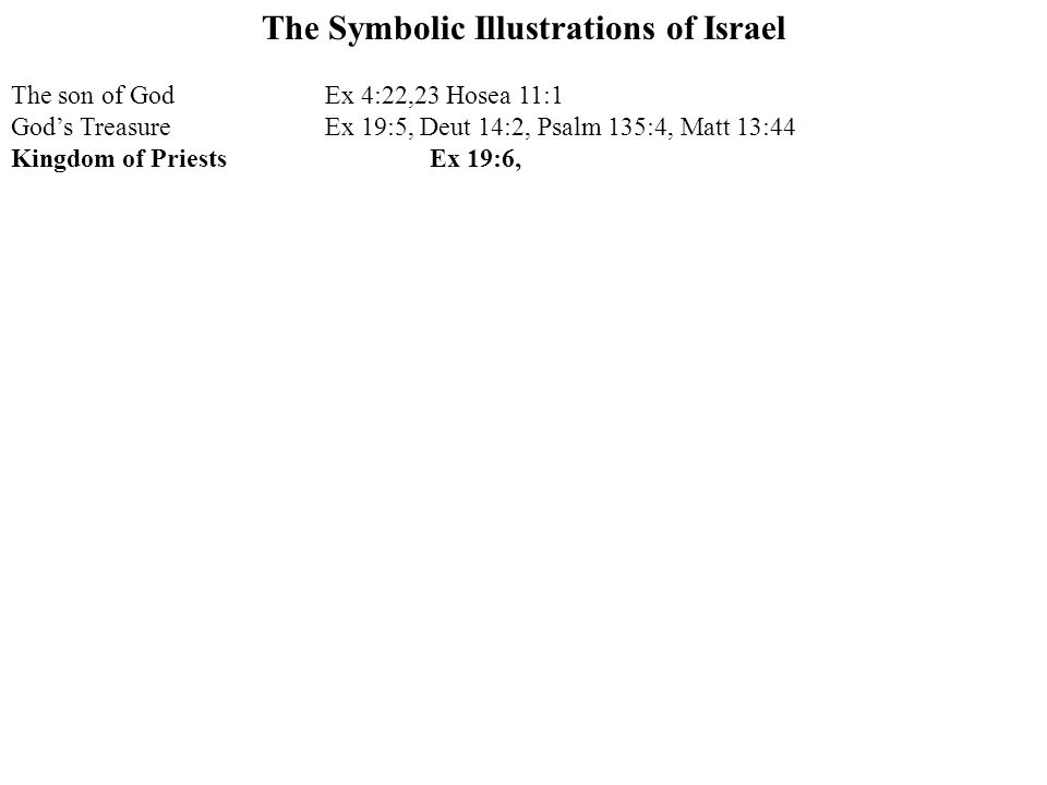The Symbolic Illustrations of Israel The son of GodEx 4:22,23 Hosea 11:1 God's TreasureEx 19:5, Deut 14:2, Psalm 135:4, Matt 13:44 Kingdom of PriestsEx 19:6,