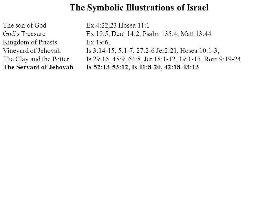 The Symbolic Illustrations of Israel The son of GodEx 4:22,23 Hosea 11:1 God's TreasureEx 19:5, Deut 14:2, Psalm 135:4, Matt 13:44 Kingdom of PriestsEx 19:6, Vineyard of JehovahIs 3:14-15, 5:1-7, 27:2-6 Jer2:21, Hosea 10:1-3, The Clay and the PotterIs 29:16, 45:9, 64:8, Jer 18:1-12, 19:1-15, Rom 9:19-24 The Servant of JehovahIs 52:13-53:12, Is 41:8-20, 42:18-43:13