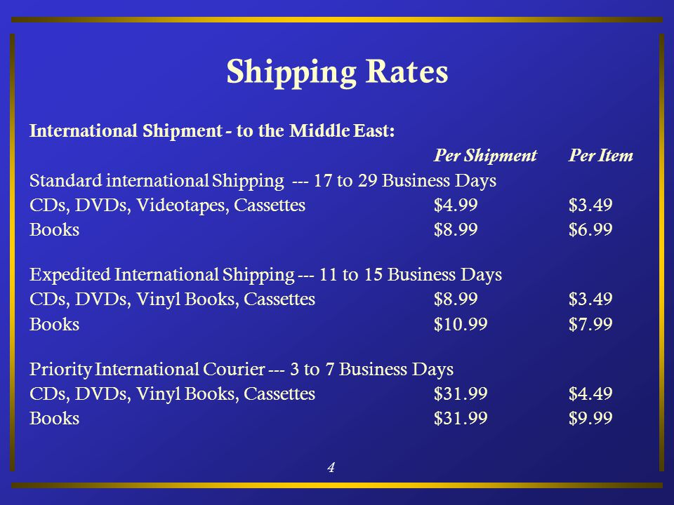 4 Shipping Rates International Shipment - to the Middle East: Per ShipmentPer Item Standard international Shipping --- 17 to 29 Business Days CDs, DVD