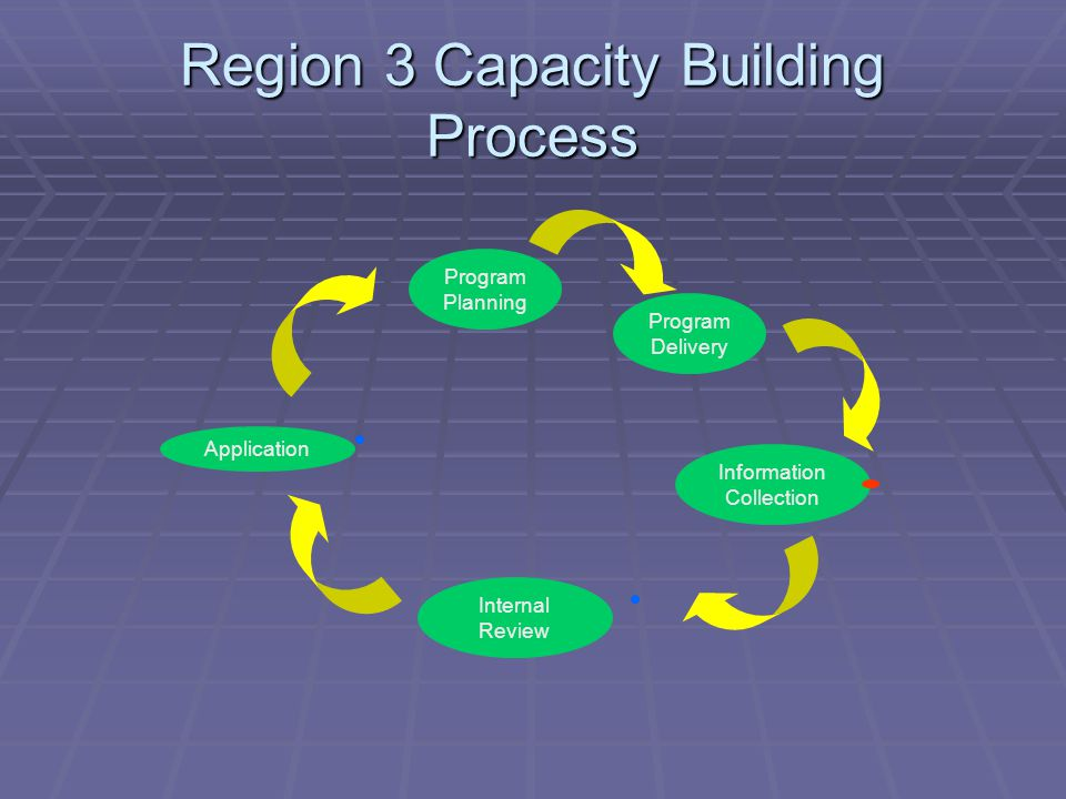 Region 3 Capacity Building Process Program Planning Program Delivery Information Collection Internal Review Application