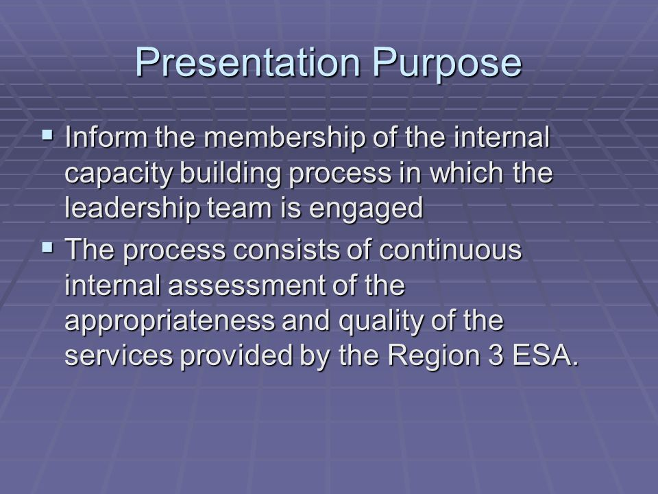 Presentation Purpose  Inform the membership of the internal capacity building process in which the leadership team is engaged  The process consists of continuous internal assessment of the appropriateness and quality of the services provided by the Region 3 ESA.