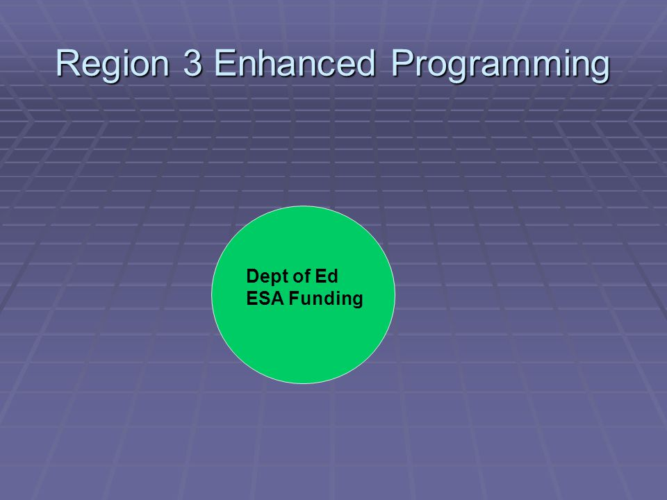 Region 3 Enhanced Programming Dept of Ed ESA Funding