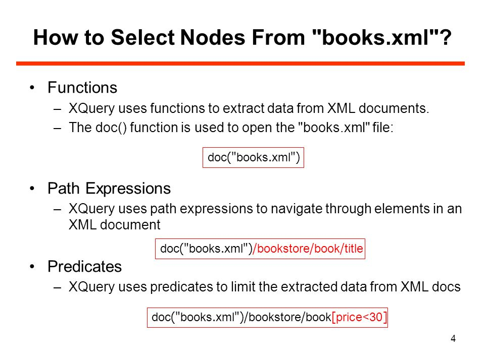 15 for Clause (cont) The at keyword can be used to count the iteration: Result: for $x at $i in doc( books.xml )/bookstore/book/title return {$i}.