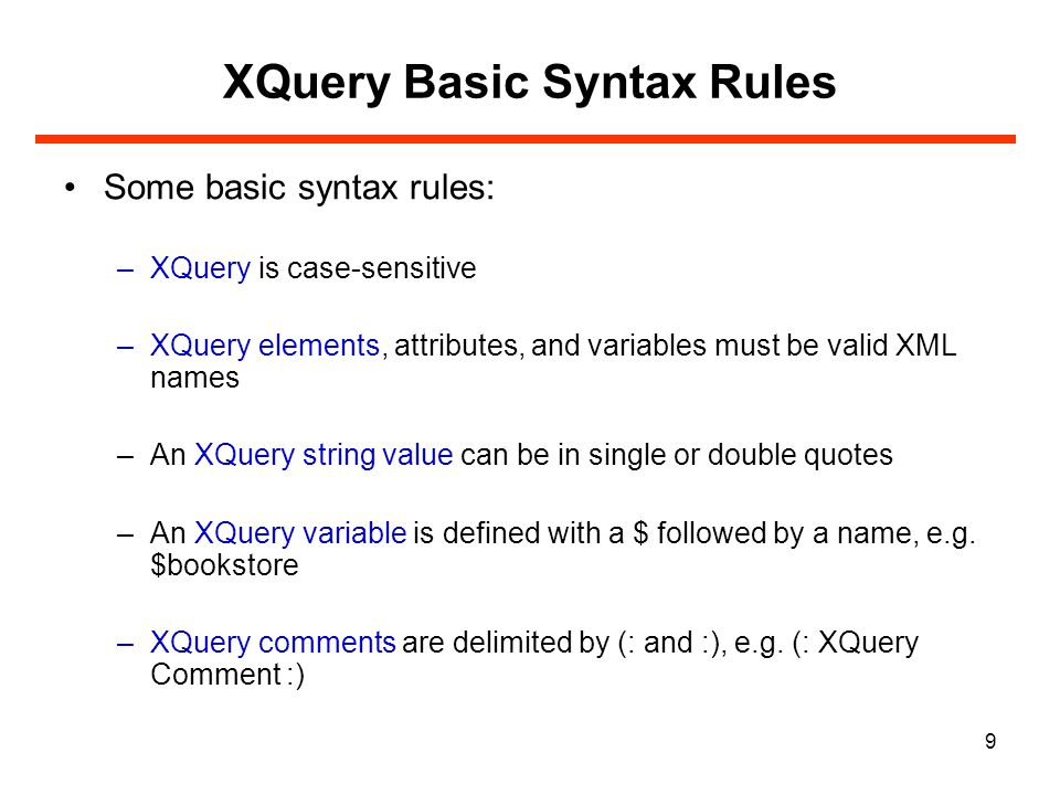 10 XQuery Conditional Expressions If-Then-Else expressions are allowed in XQuery The result will be: for $x in doc( books.xml )/bookstore/book return if ($x/@category= CHILDREN ) then {data($x/title)} else {data($x/title)} Notes on the if-then-else syntax: parentheses around the if expression are required.
