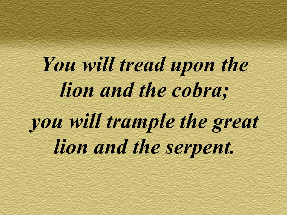 You will tread upon the lion and the cobra; you will trample the great lion and the serpent.
