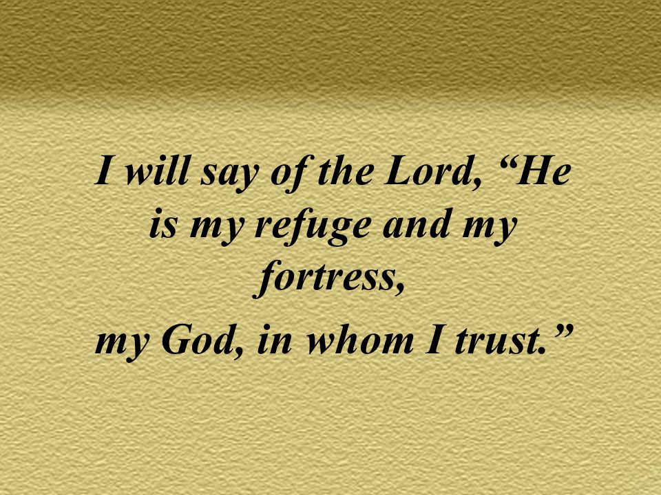 I will say of the Lord, He is my refuge and my fortress, my God, in whom I trust.