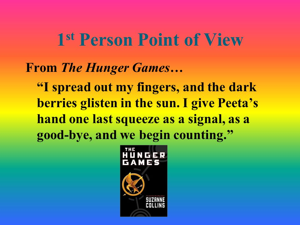 1 st Person Point of View From The Hunger Games… I spread out my fingers, and the dark berries glisten in the sun.