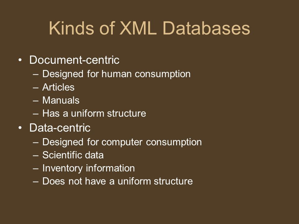 Oracle Oracle introduced XML capabilities in Oracle9i Release 2 –Allowed for the querying, retrieval, and management of XML data.
