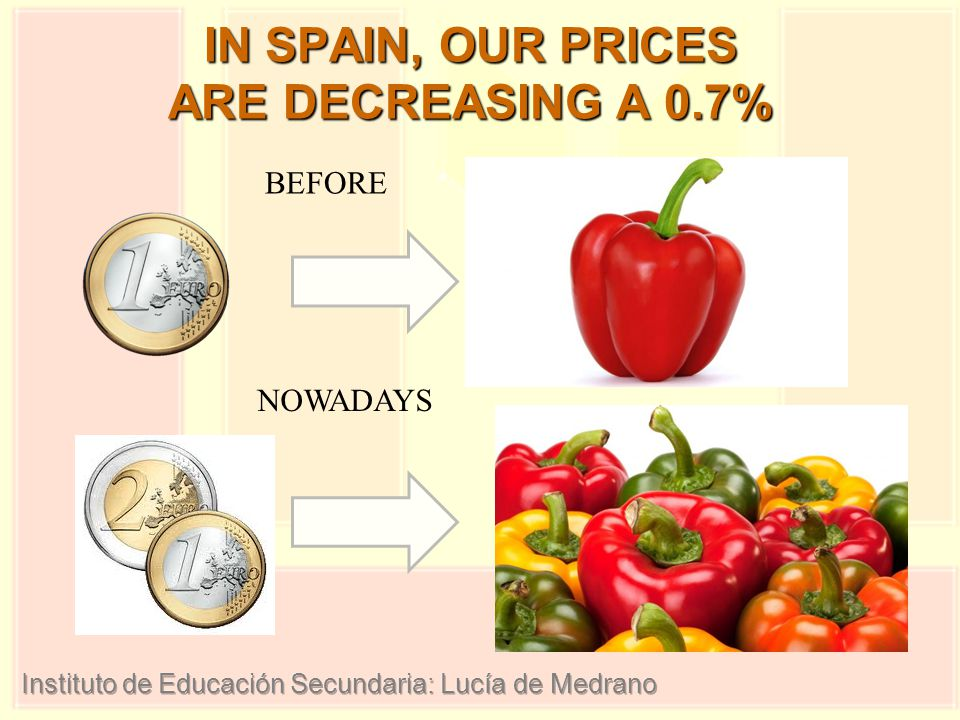 IN SPAIN, OUR PRICES ARE DECREASING A 0.7% BEFORE NOWADAYS