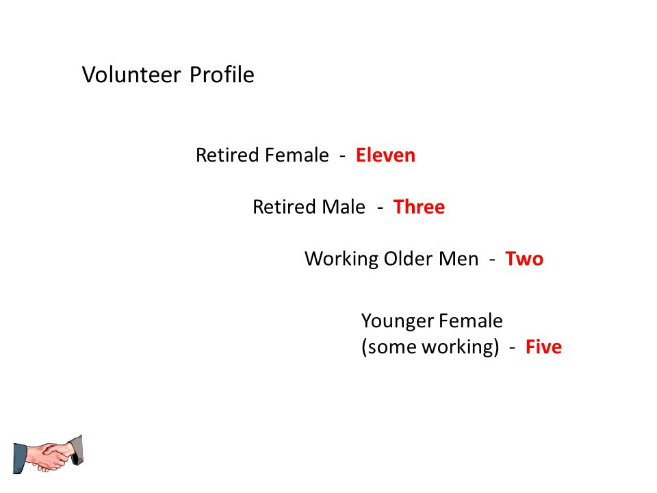 Volunteer Profile Retired Female - Eleven Retired Male - Three Working Older Men - Two Younger Female (some working) - Five