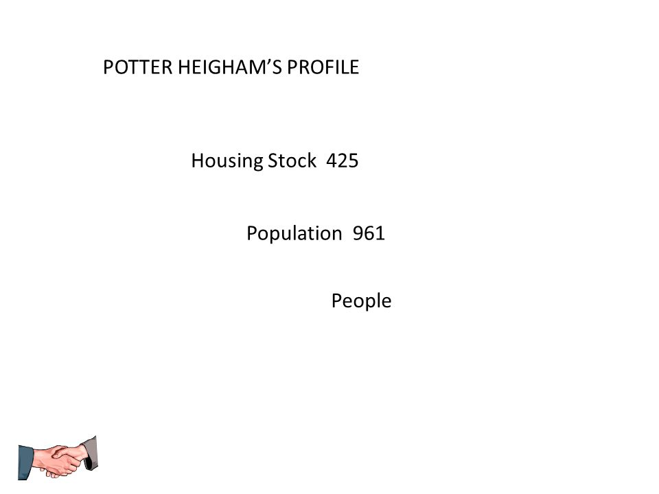 POTTER HEIGHAM'S PROFILE Population 961 Housing Stock 425 People