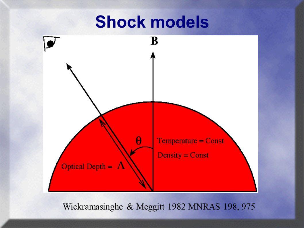 Shock models Wickramasinghe & Meggitt 1982 MNRAS 198, 975