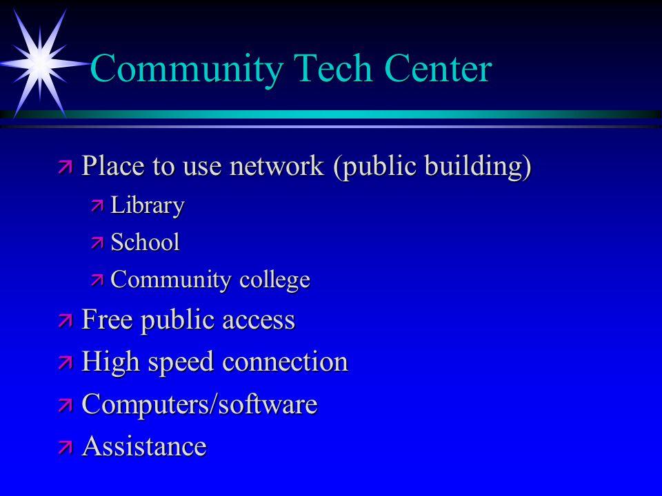 Community Tech Center ä Place to use network (public building) ä Library ä School ä Community college ä Free public access ä High speed connection ä Computers/software ä Assistance