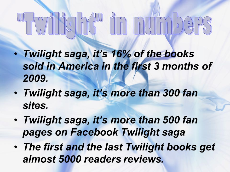 The first reason of Twilight`s popularity Writing style of Stephenie Meyer is simple and easy to read.