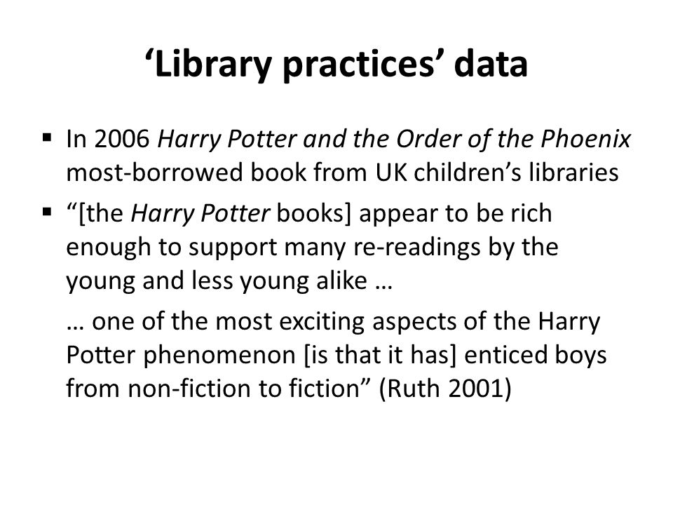 Some quantitative gender tendencies (2): girls and Harry Potter.