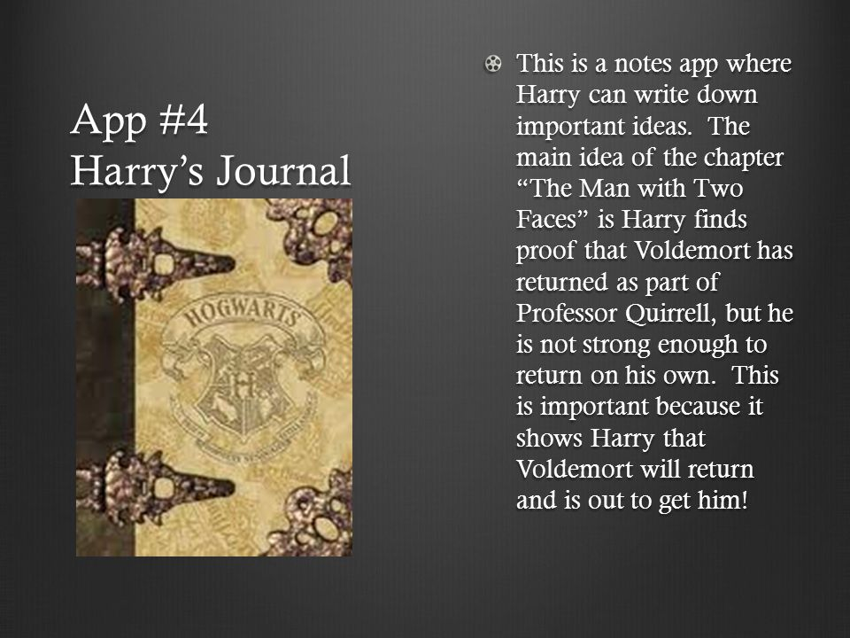 App #4 Harry's Journal This is a notes app where Harry can write down important ideas.