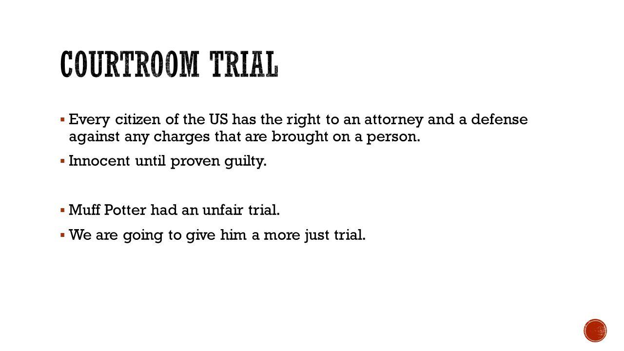  Judge  Bailiff  Jury  Prosecution  Defense  Attorney for the Defense  Attorney for the Prosecution  Count clerk/time keeper  Stenographer  Courtroom artist  Journalist